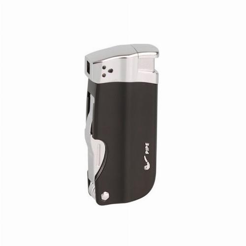 Passatore Pfeifenfeuerzeug schwarz mit Pfeifenbesteck