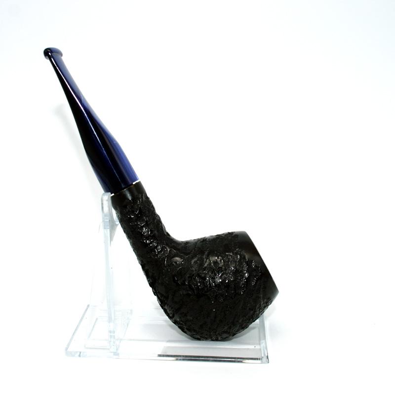 Pfeife Jean Claude, schwarz mit blauem Mundstück, Straight