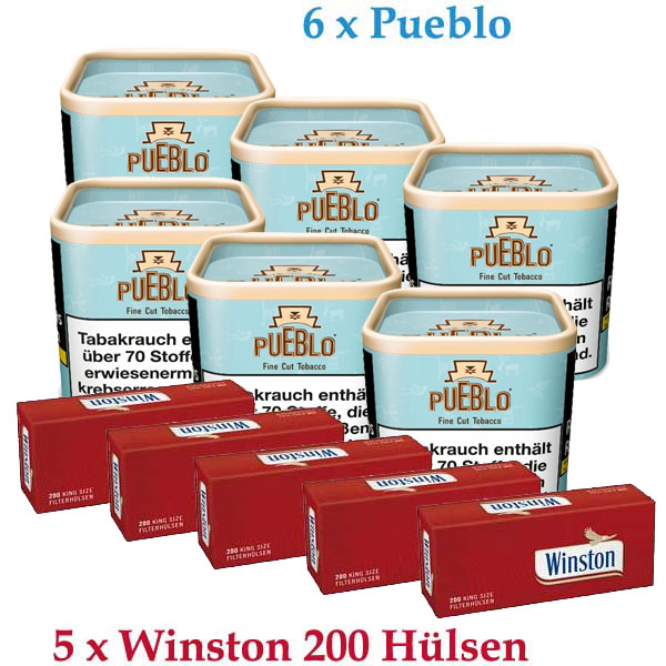 6x Pueblo Blue Tabak + 5 x 200 Winston Zigarettenhülsen  Sparpaket