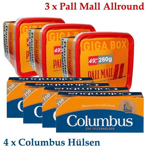 Sparpaket - 3 x Pall Mall Allround 260g Dose + 4 x Columbus 250 Stück Hülsen