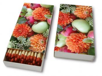 Lange Streichhölzer Blumen und Äpfel