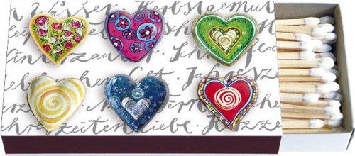 Lange Streichhölzer sechs Herzen