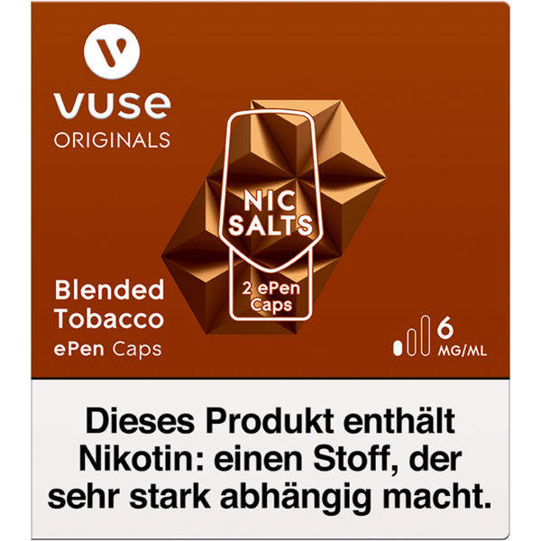 Vuse ePen Caps Blended Tobacco Nic Salts 6mg
