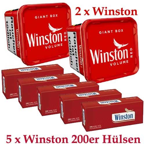 Winston 520g Tabak Sparpaket ( 2 x Winston 260g & 5 x 200 Stück Winston Hülsen )