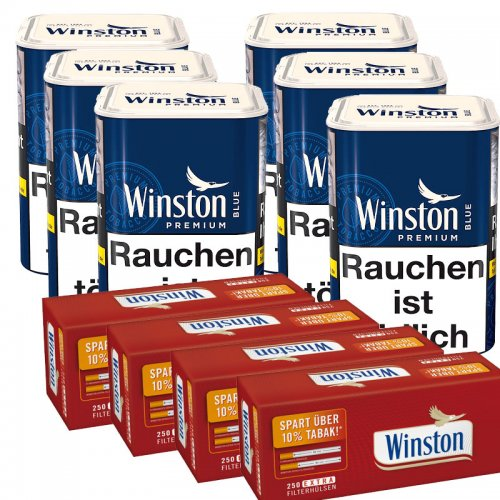 Tabak Sparpaket Winston  (6x Winston blau 100g) + (4xWinston Extra Hülsen 250Stk.)