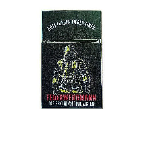 Zigaretten-Faltschachtel Feuerwehr 2 Mann mit Anzug