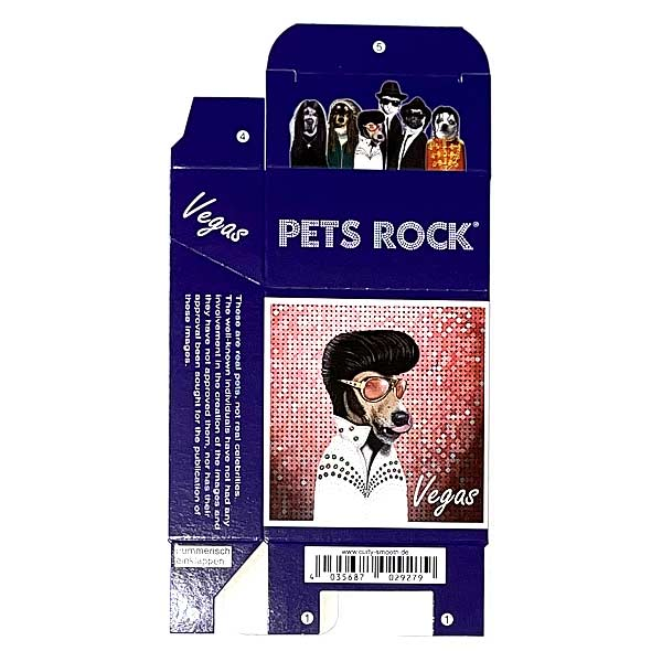 Zigaretten-Faltschachtel Pets Rock Vegas Motiv