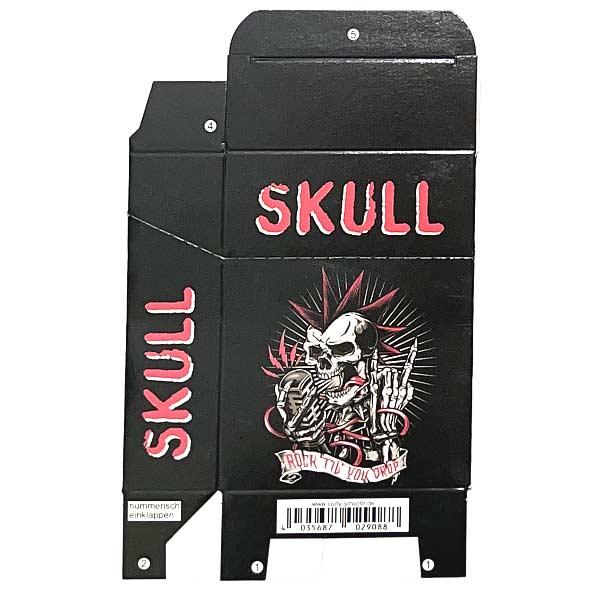 Zigaretten-Faltschachtel Skull rot-weiss Motiv 25er