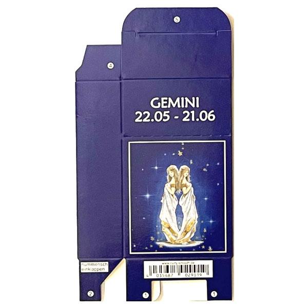Zigaretten-Faltschachtel Sternzeichen Gemini/Jungfrau Motiv