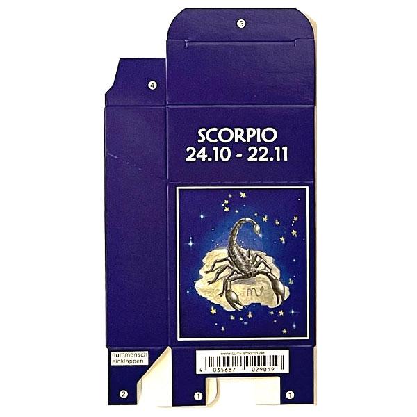 Zigaretten-Faltschachtel Sternzeichen Scorpio/Skorpion Motiv