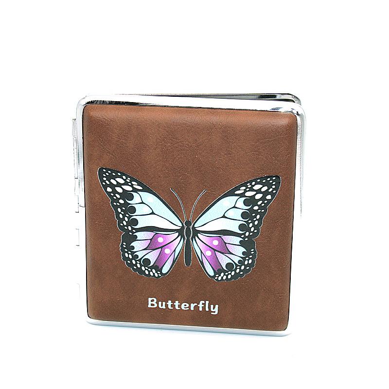 Zigarettenetui für ca. 20 Zigaretten, Lederoptik, Motiv Butterfly blau-lila