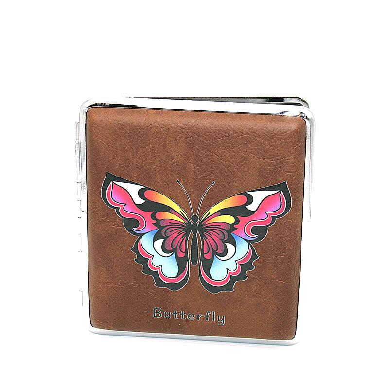 Zigarettenetui für ca. 20 Zigaretten, Lederoptik, Motiv Butterfly bunt