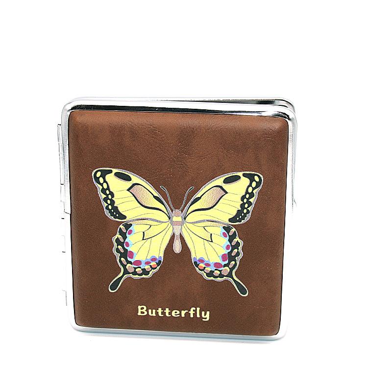 Zigarettenetui für ca. 20 Zigaretten, Lederoptik, Motiv Butterfly gelb-schwarz