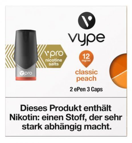 Vuse ePen Caps classic peach 12mg Nikotin