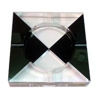 Ascher für Zigaretten Glas Schwarz-Weiß 4 Ablagen