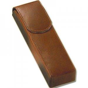 Cigarren-Etui 2er, Leder, braun, mit Überschlag