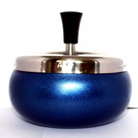 Dreh-Ascher Chrom Blau-Metallic 11 cm
