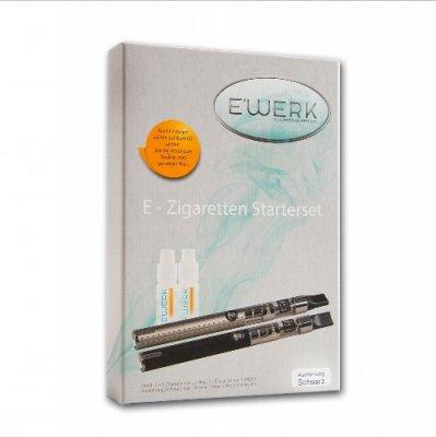 E WERK Starterset E-Zigarette JUSTFOG Schwarz + 2 Liquids 12mg