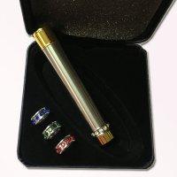 Feuerzeug mit austauschbaren Schmuck-Ringen Chrom-Gold