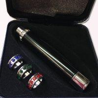 Feuerzeug mit austauschbaren Schmuck-Ringen Schwarz-Chrom