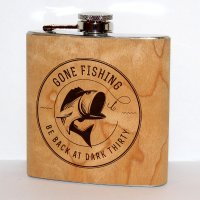 Flachmann Gone Fishing 6 Oz Stainless Steel