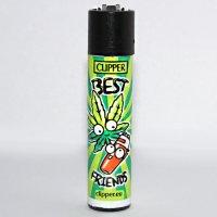 Clipper Feuerzeug Best Friends 2 - 1v4 Hanf Blatt