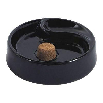 Pfeifenascher Keramik rund schwarz 1 Ablage 16cm