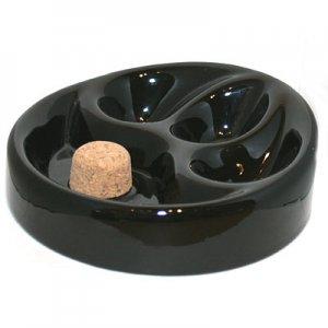 Pfeifenascher Keramik rund schwarz 3 Ablagen 17cm