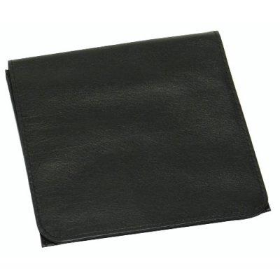 Tabak-Rollbeutel Leder Rind-Nappa schwarz Kautschukfutter 12,5 x 8,5 cm