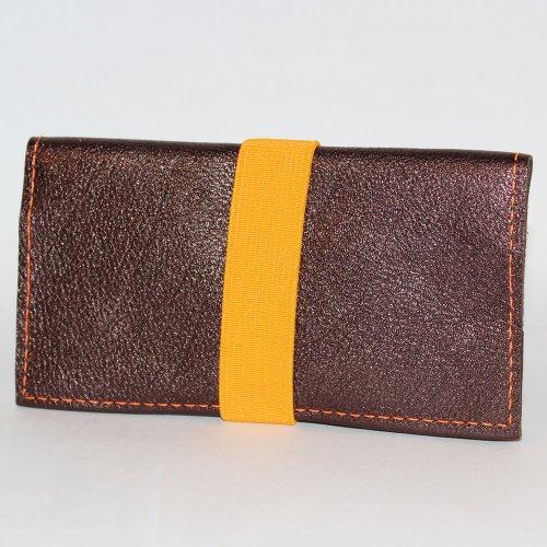 Tabakbeutel Braun-Muster mit Orangem Gummiband für 30g-Pouches