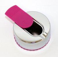 Taschenaschenbecher mit Schiebedeckel Rund Chrome Pink