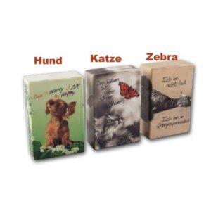 Zigarettenbox Kunststoff Hund/Katze/Zebra - Katze