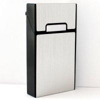 Zigarettenbox Kunststoff Silber Slim 100mm Metalloptik