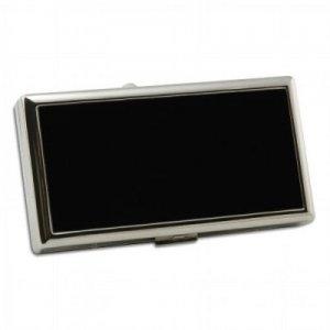 Zigarettenetui Metall Pearl schwarz silber mit Clip 100mm
