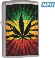 Zippo Feuerzeug Street Color Rastafari Leaf