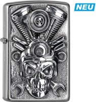 Zippo Feuerzeug Street Plakette V2 Engine Skull