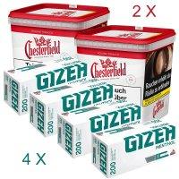 2x Chesterfield 280g Tabak + 4x Gizeh Menthol 200 Hülsen - Sparpaket