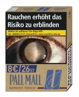 Pall Mall Authentic Blau XXL ohne Zusätze (8x26)