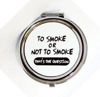 Taschenaschenbecher Rund to Smoke or not to Smoke Weiß