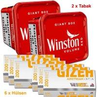 Winston 630g Tabak + Gizeh 1200 Hülsen Sparpaket