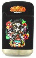 Mexican Skulls Easy Torch 8 Jet Feuerzeug Catrinas Schwarz 1