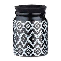 Tabaktopf Steingut für Pfeifen- und Zigarettentabak schwarz-weiß
