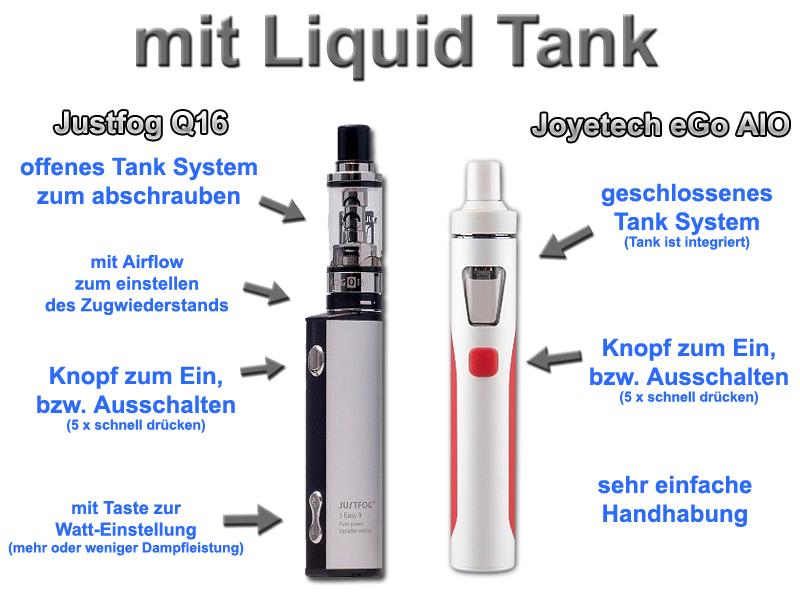 e Zigarette für Einsteiger mit Liquid Tank